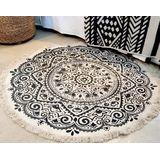 Fair & Fine | Vloerkleed Mandala katoen zwart 155x155 cm ronde vloerkleden | NADUVI