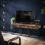 Dimehouse   TV Meubel Liam medium: breedte 135 cm x diepte 35 cm x hoogte 50 bruin dressoirs hardhout, metaal kasten meubels   NADUVI outlet