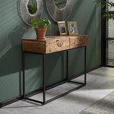 Dimehouse | Sidetable Pim lengte 35 cm x breedte 110 cm x hoogte 76 cm bruin sidetables acaciahout tafels meubels | NADUVI outlet