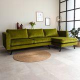 Dimehouse | Hoekbank Gino hoekdeel rechts velours groen 270x150 cm hoekbanken | NADUVI