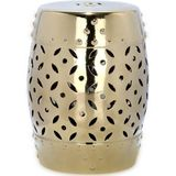 Safavieh Furniture | In- & outdoor kruk Kelley lengte 39 cm x breedte 33 cm x hoogte 46,99 cm goudkleurig krukken geglazuurde | NADUVI outlet