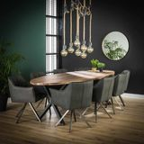 Dimehouse | Eettafel Daya ovaal lengte 105 cm x breedte 270 cm x hoogte 77 cm bruin, zwart eettafels teakhout, metaal tafels | NADUVI outlet