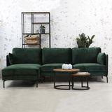 Dimehouse   Hoekbank Peppin links 3-zits velvet zithoogte 46 cmzitdiepte 59 cmhoogte 85 cmdikte groen zitbanken velvet meubels   NADUVI outlet