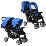 Kinderwagen dubbel staal blauw en zwart