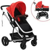Kinderwagen 2-in-1 aluminium rood en zwart