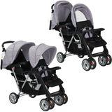 Kinderwagen dubbel staal grijs en zwart