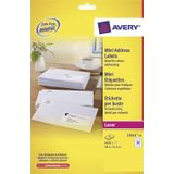 Avery L7651-25 mini adresetiketten ft 38,1 x 21,2 mm (b x h), 1.625 etiketten, wit
