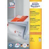 Avery Zweckform 3666, Universele etiketten, Ultragrip, wit, 100 vellen, 65 per vel, 38 x 21,2 mm