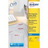 Avery J8551-25 mini etiketten ft 38,1 x 21,2 mm (b x h), 1.625 etiketten, transparant