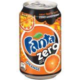 Fanta Zero Orange frisdrank, blik van 33 cl, pak van 24 stuks