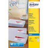 Avery J8161-25 adresetiketten ft 63,5 x 46,6 mm (b x h), 450 etiketten, wit