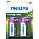 Philips Rechargeable NimH D/HR20 3000mah blister 2