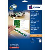 Visitekaartjes Avery 85x54mm 200gr wit 10 vel 10 kaarten per vel