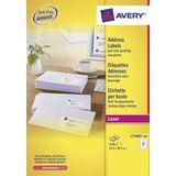 Adresetiket Avery QuickPeel 63,5x38,1 wit 100 vel 21 etiketten per vel