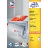 Avery Zweckform 3421, Universele etiketten, Ultragrip, wit, 100 vellen, 33 per vel, 70 x 25,4 mm