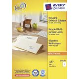Avery witte gerecycleerde universele etiketten ft 210 x 297 mm (b x h), 100 stuks, 1 per blad