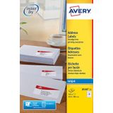 Avery J8160-25 adresetiketten ft 63,5 x 38,1 mm(b x h), 525 etiketten, wit