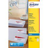 Avery J8160-25 adresetiketten ft 63,5 x 38,1 mm(b x h), 525 etiketten, wit