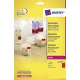 Adresetiket Avery 99,1x38,1mm neonrood 25 vel 14 etiketten per vel
