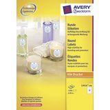 Etiket Avery 60mm rond wit 100 vel 12 etiketten per vel