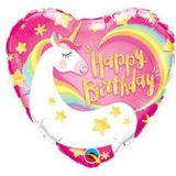 Folieballon Roze Hartvormige Eenhoorn
