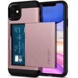 Spigen Slim Armor Card Holder Case Apple iPhone 11 Hoesje Roze Goud