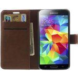 Samsung Galaxy S5 Portemonnee Stand Hoesje Bruin
