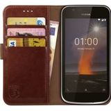 Rosso Element Nokia 1 Hoesje Book Cover Bruin