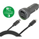 4smarts Fast Charging Autolader met iPhone Kabel (1M)