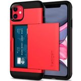 Spigen Slim Armor Card Holder Case Apple iPhone 11 Hoesje Rood