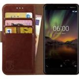 Rosso Element Nokia 6 (2018) Hoesje Book Cover Bruin