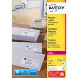 2x Avery L7161, Adresetiketten, Laser, Ultragrip, wit, 100 vellen, 18 per vel, 63,5x46,6mm