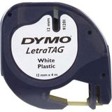 6x Dymo LetraTAG tape 12mm, plastic wit