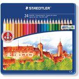4x Staedtler kleurpotlood Noris Club 24 potloden in een metalen doos