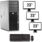 HP Z400 Workstation - Xeon W3520 - NVS 290 - 8GB - 500GB HDD + Dual 3x 23 inch Widescreen LCD - Win 10