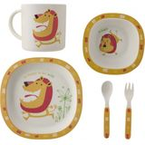 eetset Crazy Animals bamboe 5-delig geel/rood/wit