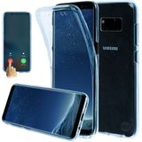 Samsung S9 G960 Shockproof 360° Blauw Transparant Siliconen Ultra Dun Gel TPU Hoesje Full Cover / Case
