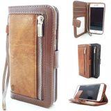 iPhone XR Bruine Wallet / Book Case / Boekhoesje/ Telefoonhoesje / Hoesje met pasjesflip en rits voor kleingeld