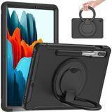 Voor Samsung Galaxy Tab S7 870 Schokbestendig TPU + PC Beschermhoes met 360 Graden Rotatie Opvouwbare Handgreep Houder & Pen Slot (Zwart)
