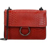 Charm Leather Elisa crossbody tas snake ring red