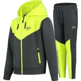 Malelions Junior Sport V Tracksuit - Antraciet/Neon Yellow