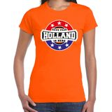 Have fear Holland is here / Holland supporter t-shirt oranje voor dames 2XL
