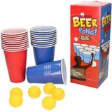 Drankspel/drinkspel beer pong set met red en blue cups