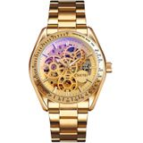 SKMEI 9194 Men Automatic Skeleton Mechanical Steel Band Watch (Golden Gold Face)