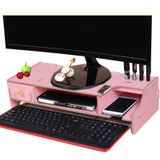 Monitor Wooden Stand Computer Desk Organizer with Keyboard Mouse Storage Slots(Pink)