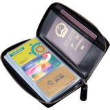 Multi-function Genuine Leather Long Style Zipper Solid Color Card Holder Wallet RFID Blocking Certificate Passport Bag Protect Case Size: 19.5*11.0*2.5cm(Black)