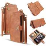 For iPhone 7 Plus / 8 Plus Multi-function PU + TPU Horizontal Flip Leather Case with Card Slots & Wallet & Photo Frame & Lanyard(Light Brown)