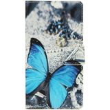 Blue Butterfly Pattern Leather Case with Holder & Card Slots & Wallet for Nokia Lumia 930