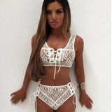 Lace High Waist Bikini Set Sexy Women Push Up Bra Bandage Triangle Swimwear Size:S(White)