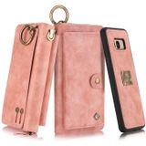 For Galaxy S8 POLA Multi-function Fashion Zipper Magnetic Horizontal Flip Leather Case with Card Slots & Wallet & Photo Frame & Lanyard(Pink)